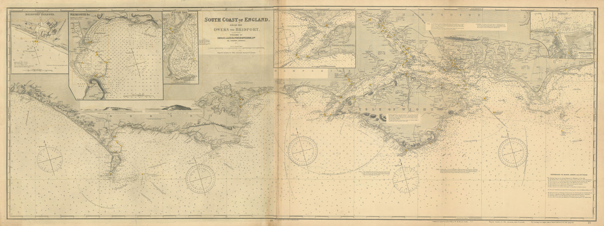 South Coast of England. 175x65cm. Imray Laurie Norie Wilson sea chart 1913 map