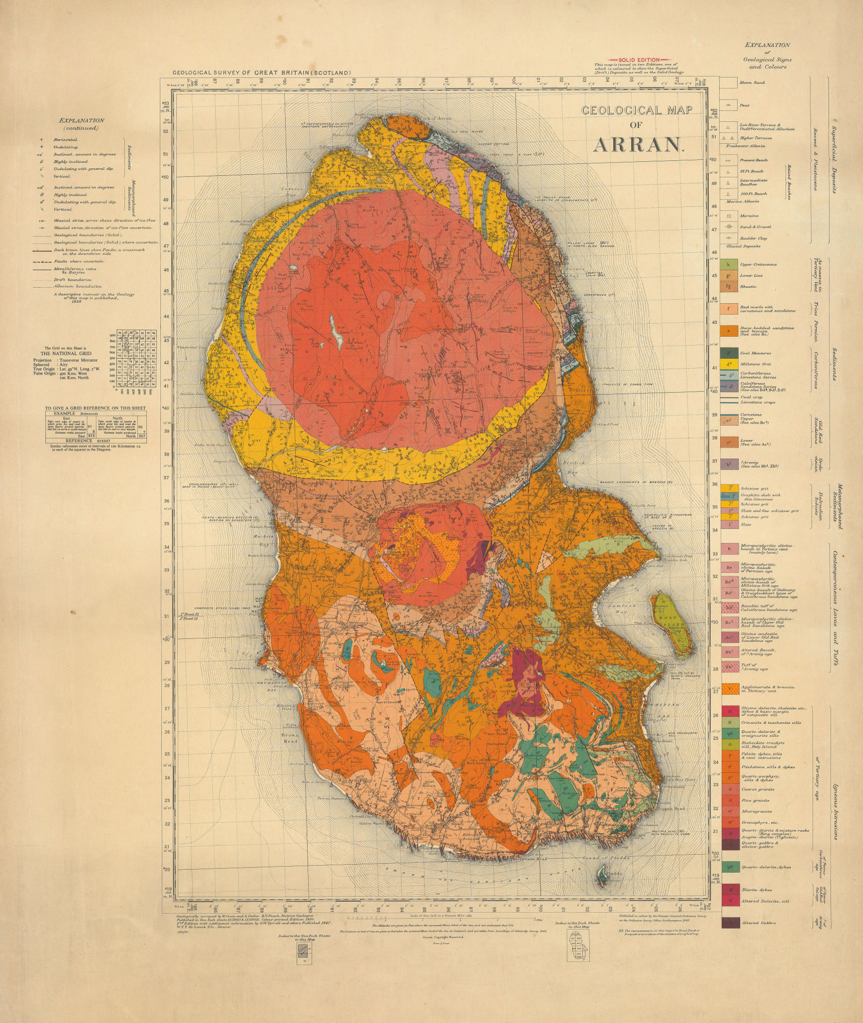 Geological map of Arran. Geological survey sheet. Scotland 1947 old