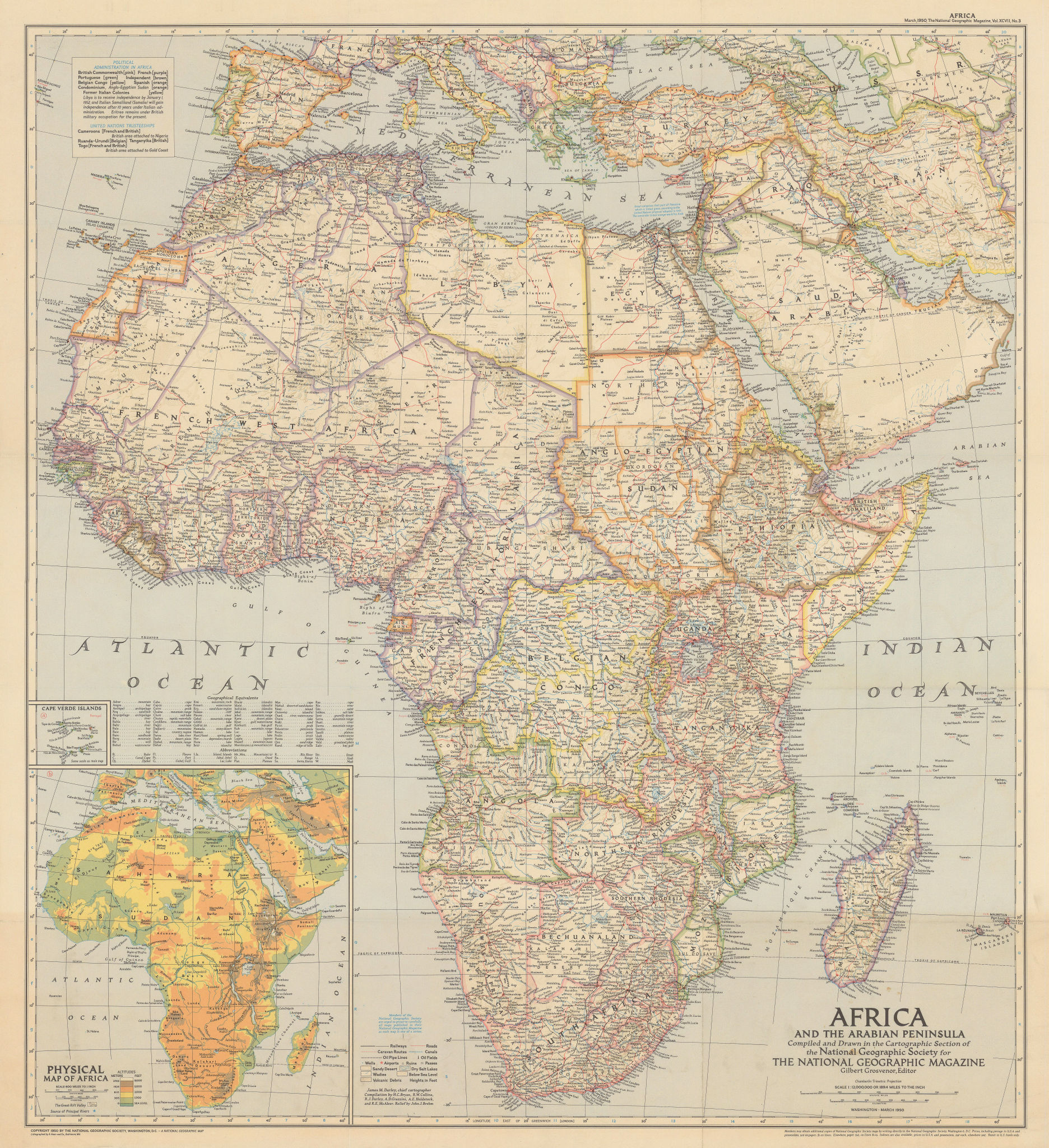 Late colonial Africa & the Arabian Peninsula. National Geographic 1950 old map