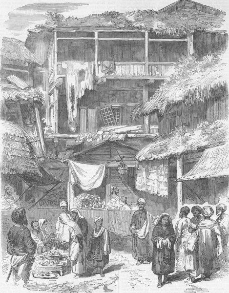 Associate Product KASHMIR. Street in Sirnagur. India, antique print, 1857
