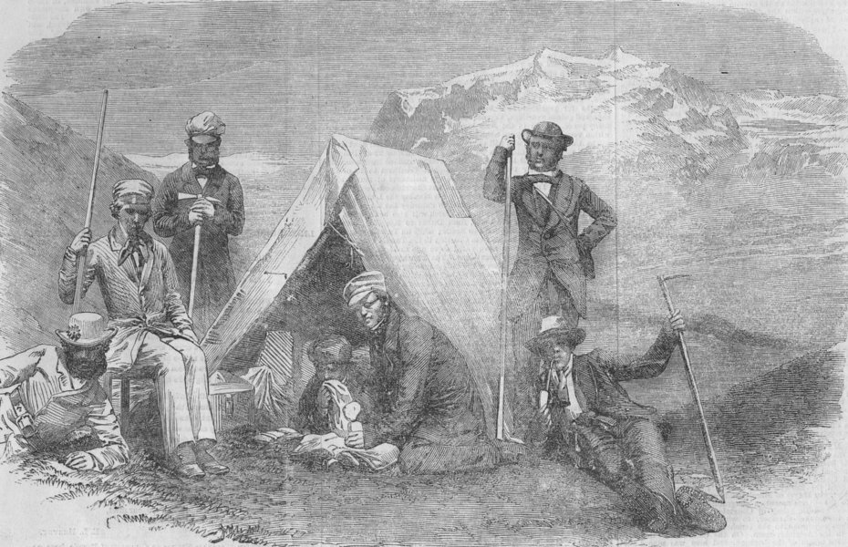 Associate Product FRANCE. Ascent of Mont Blanc without guides-Night encampment on the snow, 1855