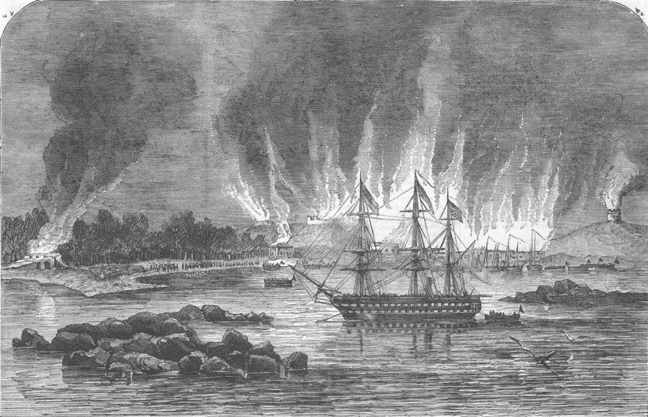 Associate Product RUSSIA. Destruction of Russian barracks and magazine, Hango, antique print, 1855