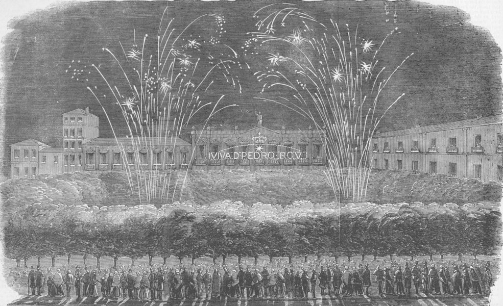 Associate Product OPORTO. King's inauguration of the King of Portugal. Fireworks, old print, 1855