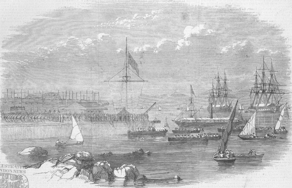 Associate Product BOMBAY (MUMBAI) . Landing docks Bander. Remains Frederick Fitzclarence, 1855