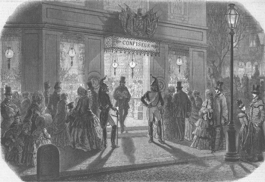 Associate Product PARIS. A BonBon shop on New Year's Day, antique print, 1853