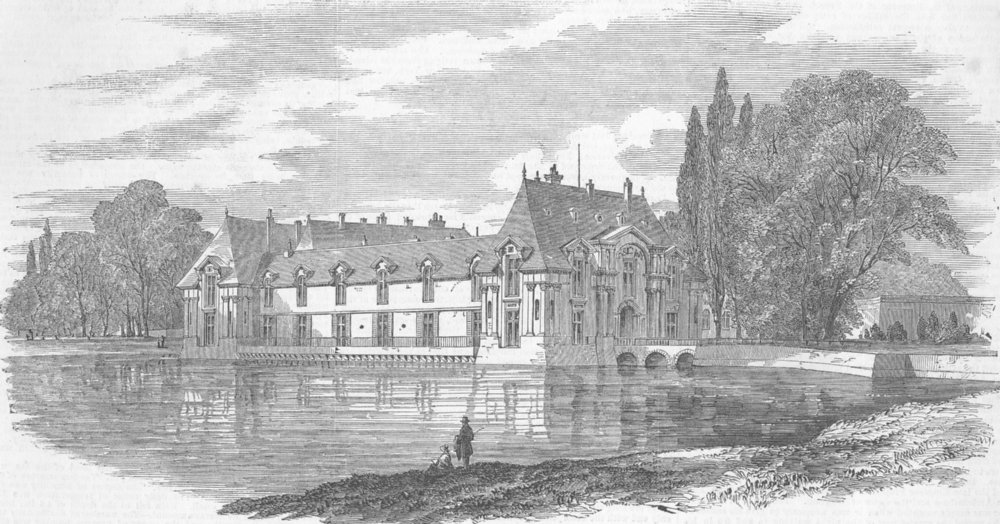 Associate Product FRANCE. The Chateau of Chantilly, antique print, 1853