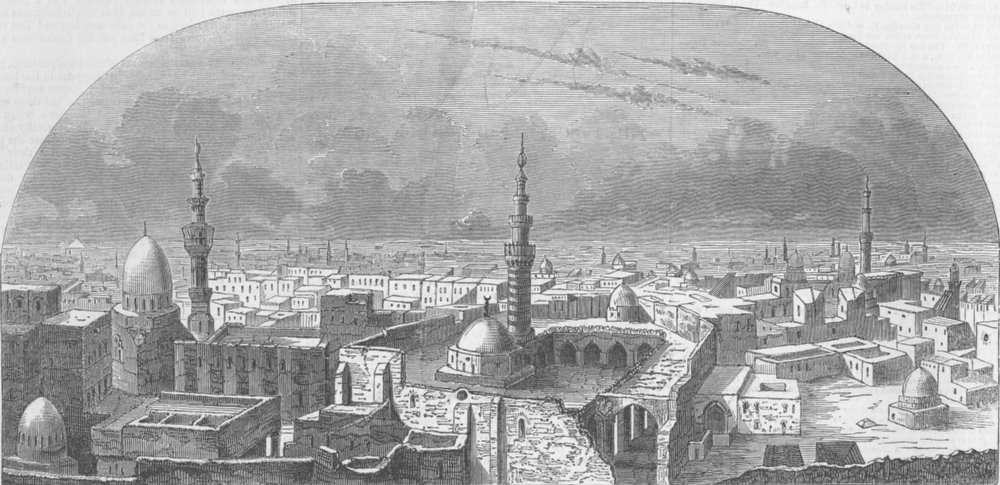 Associate Product EGYPT. Mr. Burford's New Panorama of Cairo, antique print, 1847
