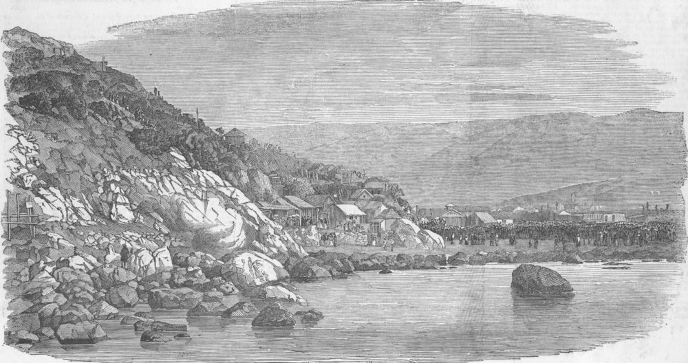 Associate Product CHILE. Commencement at Valparaiso of the railway to Santiago, old print, 1853