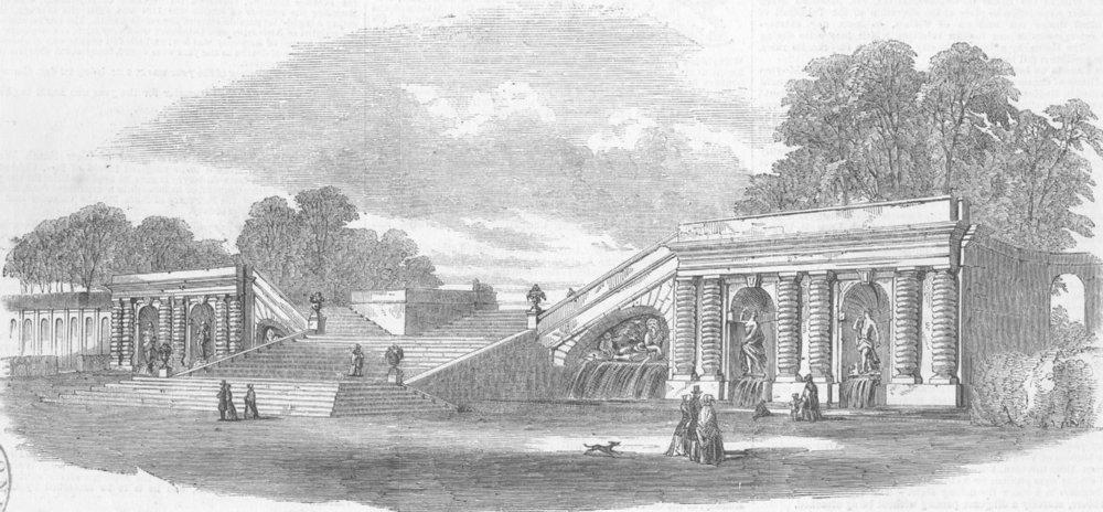 Associate Product FRANCE. Terrace in the garden at Chantilly, antique print, 1853