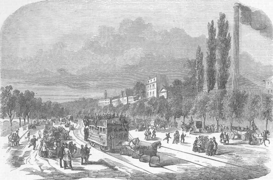 Associate Product PARIS. Railway upon the road of the Champs Elysees, antique print, 1853