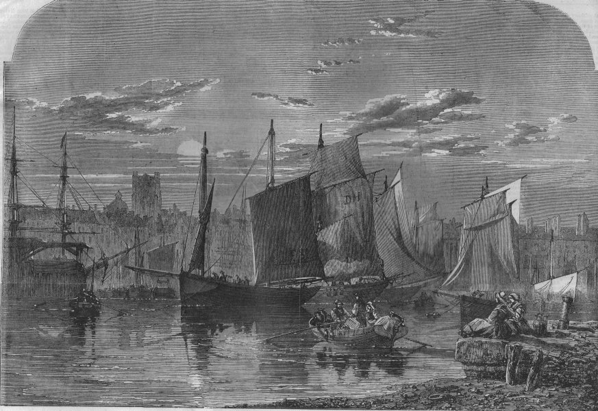 Associate Product FRANCE. The Port of Dieppe, antique print, 1861