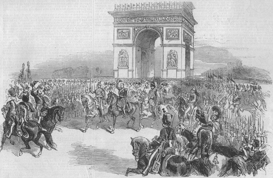 Associate Product PARIS. Triumphal entry of the Emperor Napoleon III, antique print, 1852