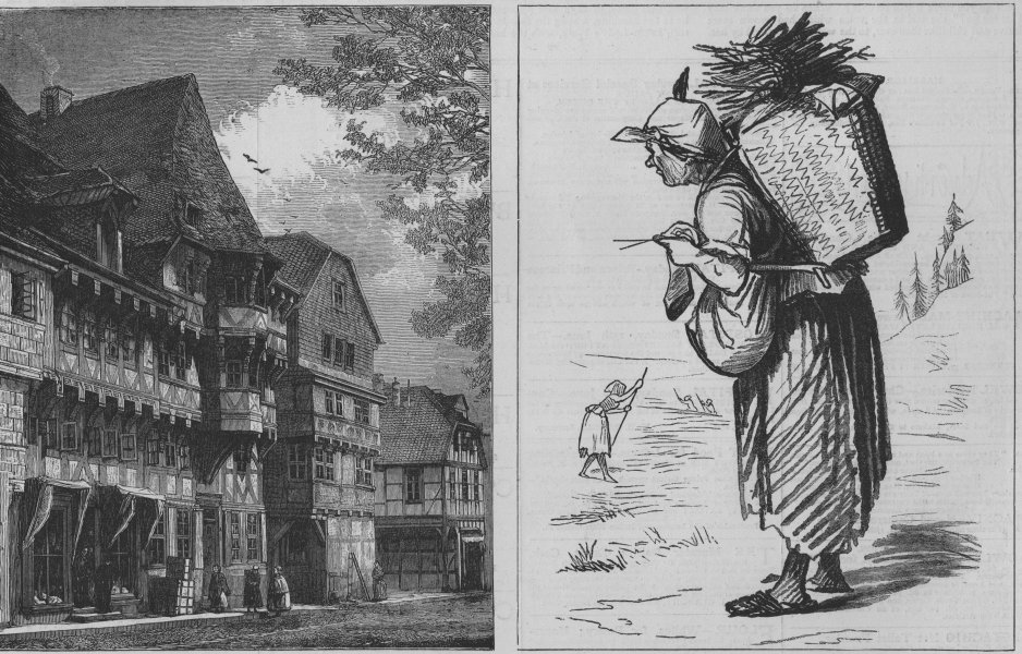 Associate Product GERMANY. The Harz Mountains. A Street in Goslar; Slaves of the Harz, print, 1873