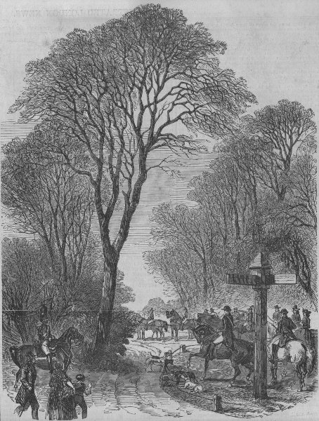 Associate Product COMPIEGNE. Emperor Louis Napoleon at the Hunting meeting. France, print, 1853