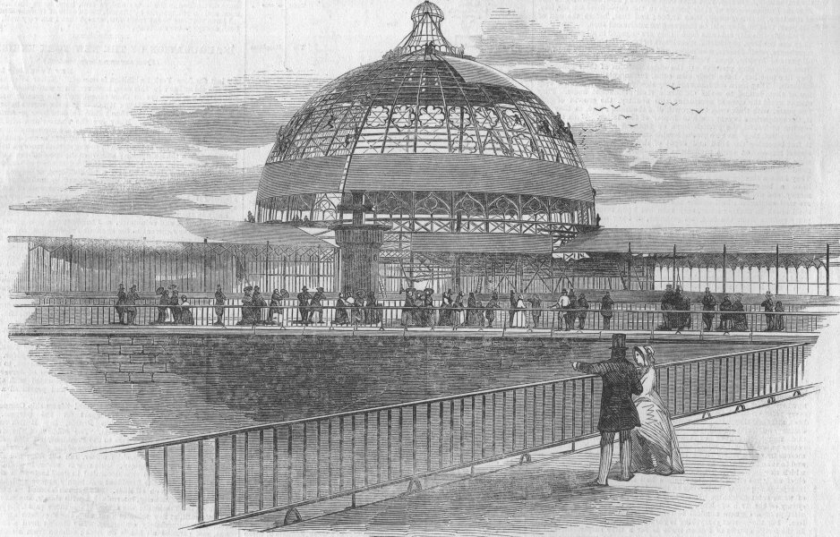 Associate Product NEW YORK. The New York Crystal Palace, antique print, 1853