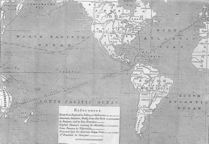 Associate Product AUSTRALIA. The Direct Route to Australia, antique print, 1853