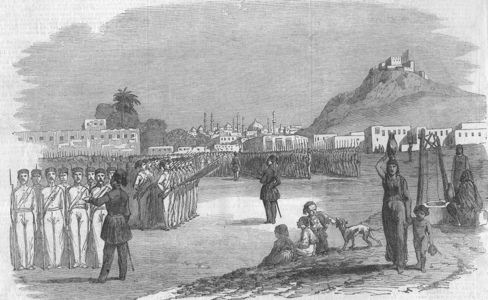 Associate Product EGYPT. The garrison of Alexandria-morning drill, antique print, 1853