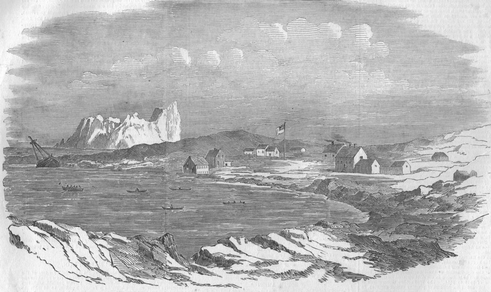 Associate Product GREENLAND. Disko Island. Lievely harbour, island of Disco, antique print, 1853