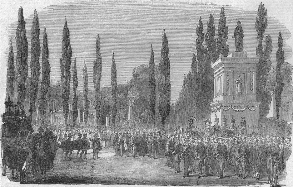 Associate Product PARIS. Funeral of François Arago, in Pere La Chaise, antique print, 1853