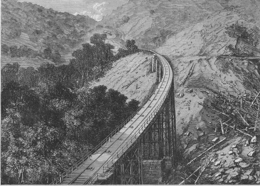 Associate Product BRAZIL. The Serra Viaduct, St Paul's railroad, antique print, 1868
