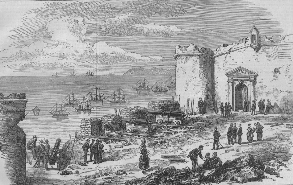 Associate Product Civil war in Spain. Sandbag battery for the defence of Alicante, old print, 1873