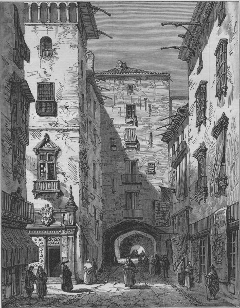Associate Product A street in Barcelona, Catalonia, Spain, antique print, 1873