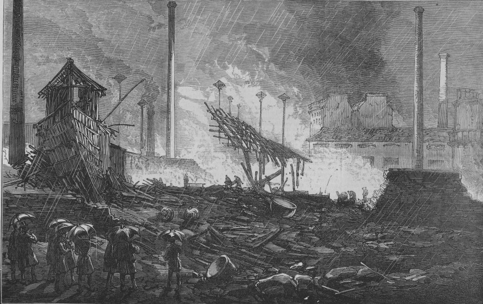 Associate Product FRANCE. Scene of the explosion in Paris, antique print, 1874