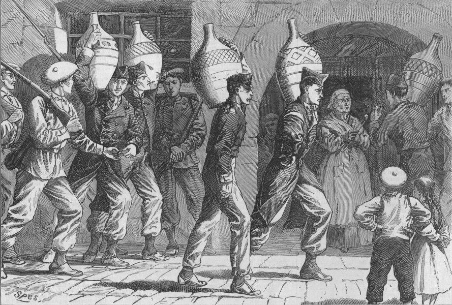 CIVIL WAR IN SPAIN. Republican Prisoners under Carlist escort, old print, 1874