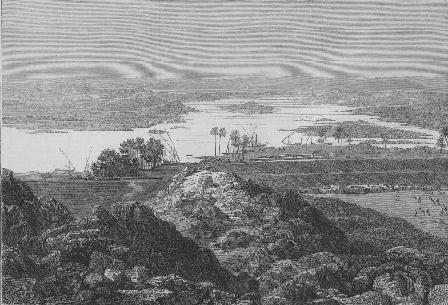 Associate Product EGYPT. The late rising of the Nile. View near the First Cataract, print, 1874