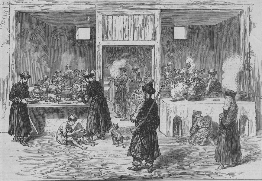 Associate Product CHINA. A restaurant in Kashgar, Central Asia, antique print, 1874