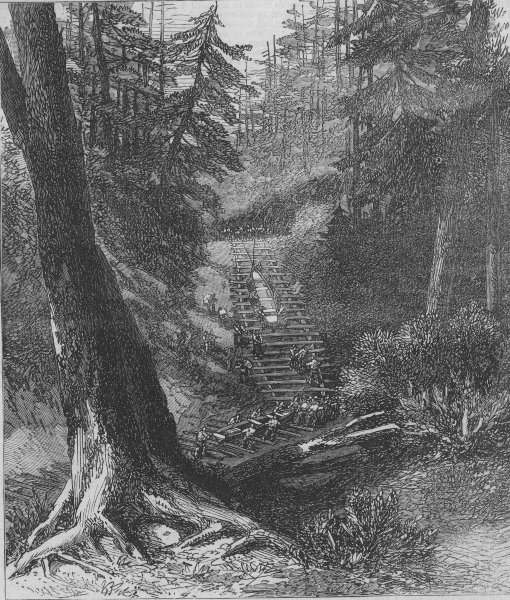 Associate Product CANADA. Wolseley Expedition. Crossing a Portage, antique print, 1871