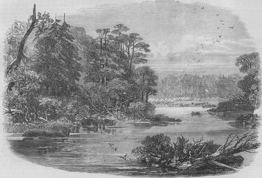 Associate Product CANADA. The Red River Expedition. camp of the 60th Rifles near Shebandowan, 1871