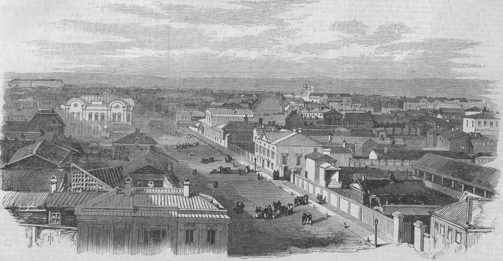Associate Product SIBERIA. The Main Street of Irkutsk. Russia, antique print, 1869
