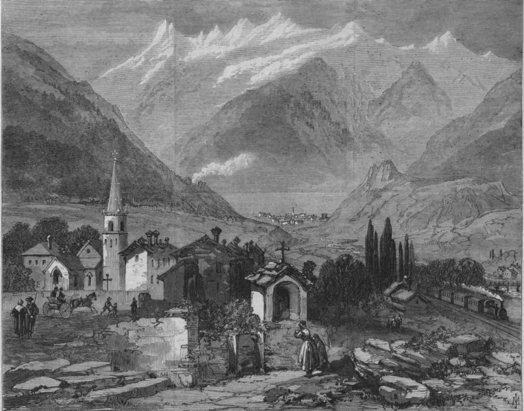 Associate Product FRANCE. Modane, the north end of the tunnel under Mont Cenis, old print, 1869
