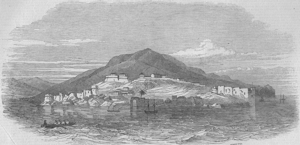 Associate Product ALGERIA. Béjaïa. Kabylia-Béjaïa, from the sea, antique print, 1847