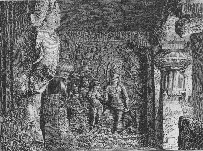Associate Product INDIA. Elephanta Caves. Caves of Elephanta, antique print, 1875