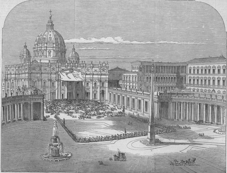 Associate Product ITALY. The Pope blessing the people, antique print, 1847