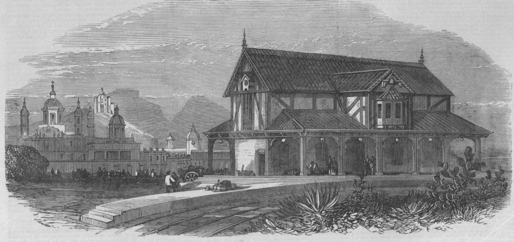 Associate Product MEXICO. Railway station, Guadalupe Hidalgo, near the City of Mexico, print, 1866