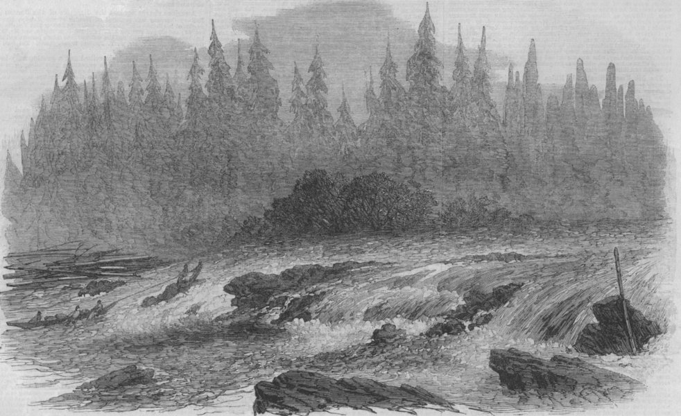Associate Product VANCOUVER ISLAND. The laughing waters rapids, on the Puntledge. Canada, 1866