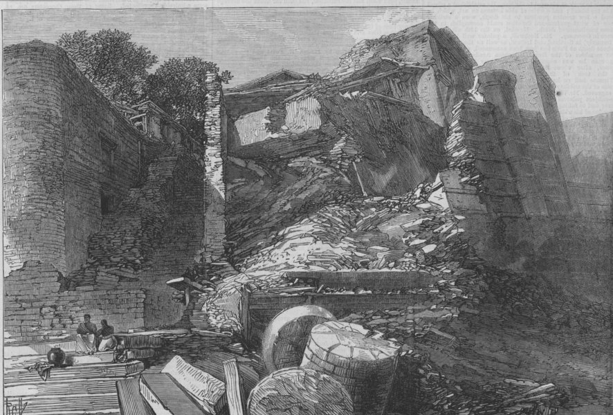Associate Product INDIA. The floods in India. Ruins of a Mirzapore Ghat, antique print, 1868