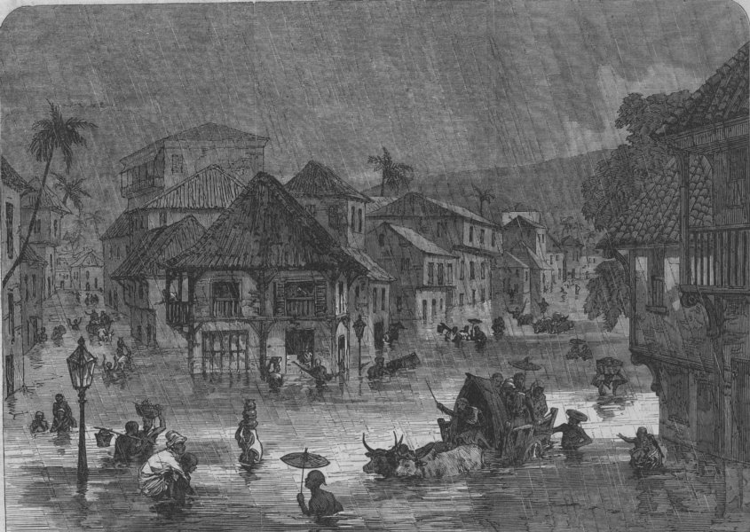 Associate Product INDIA. The Floods in India. Scene in the streets of Bombay (Mumbai) , 1868