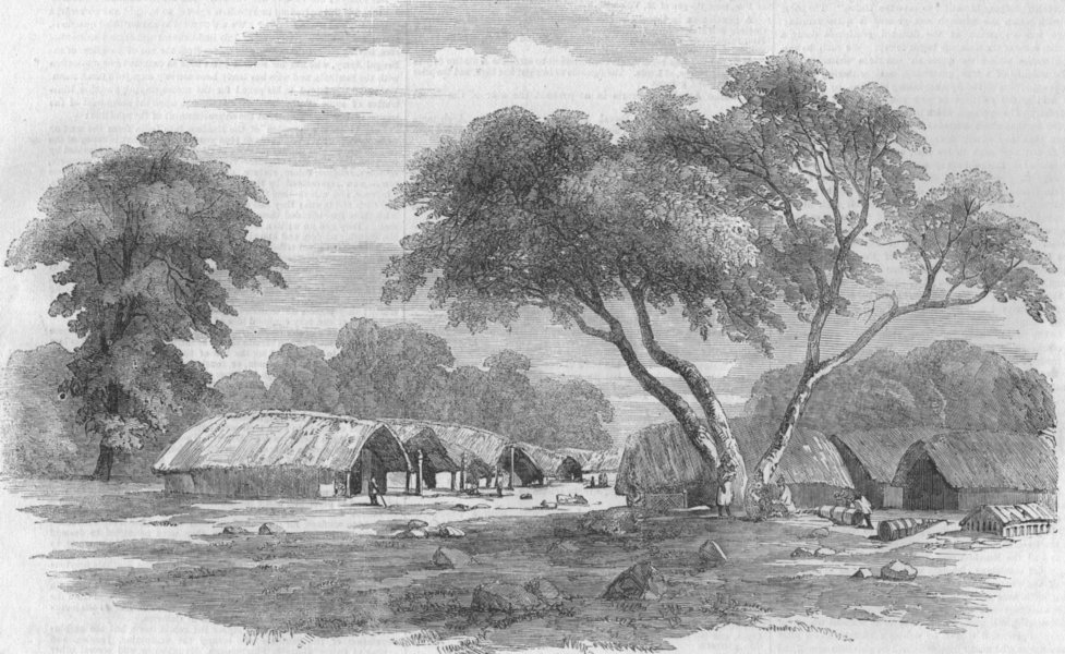 Associate Product INDIA. Santal Rebellion. Hill village in the Santal country, antique print, 1856