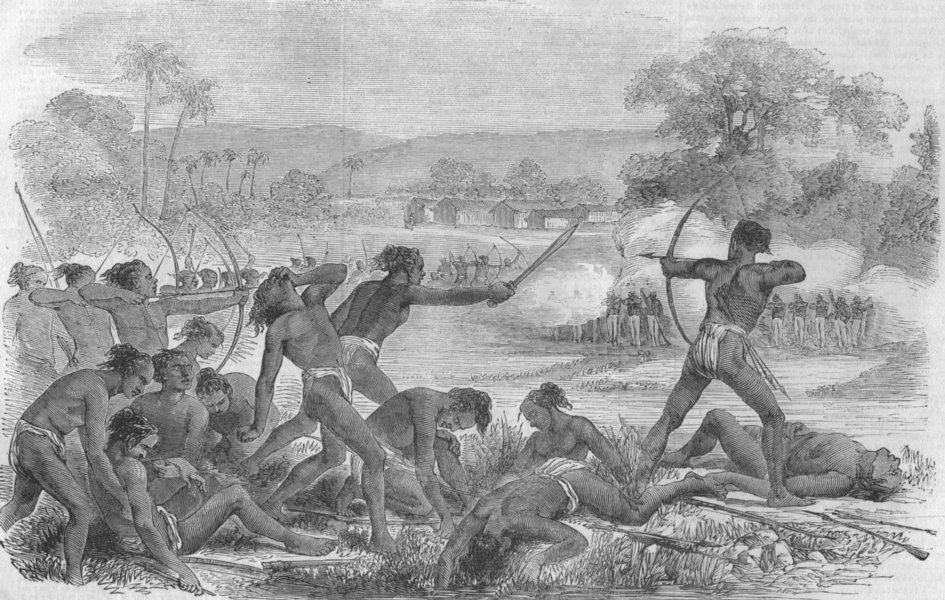 Associate Product INDIA. Santal Rebellion. Attack on Sepoys, 40th Rgt native infantry, print, 1856
