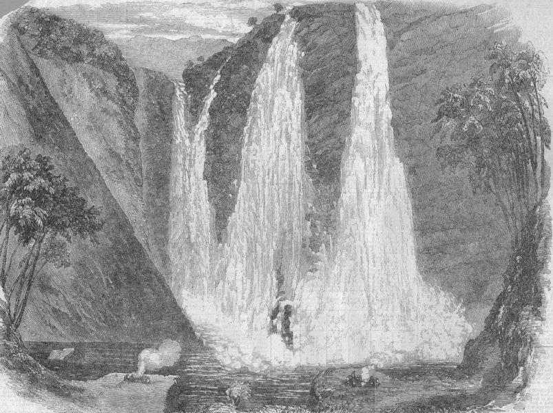 Associate Product INDIA. Falls of Garsuppah, Canara district, West coast of India, old print, 1856