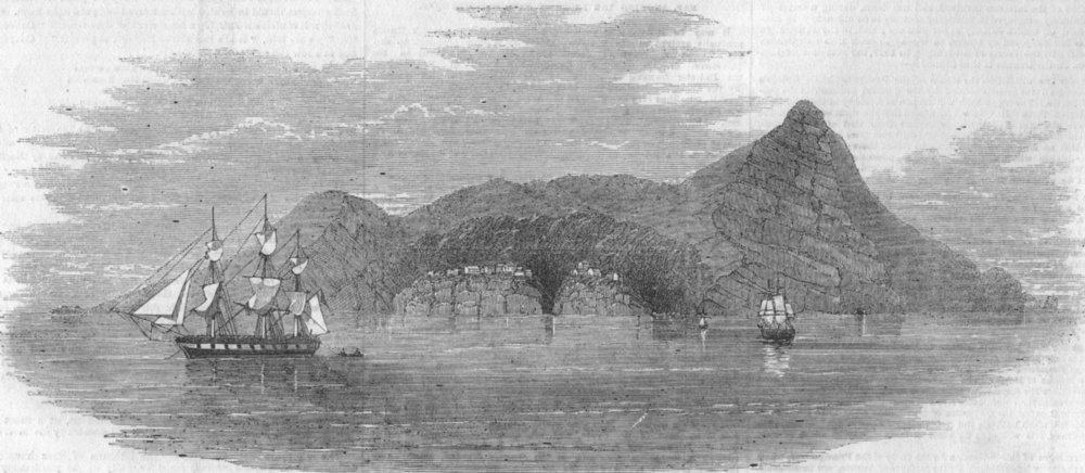 Associate Product UK. Pitcairn Islands. Pitcairn's island-sketched from HMS Amphitrite, 1856