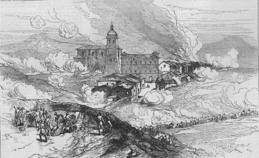 Associate Product SPAIN. First Spanish Republic. Bombardment of Hernani, antique print, 1874