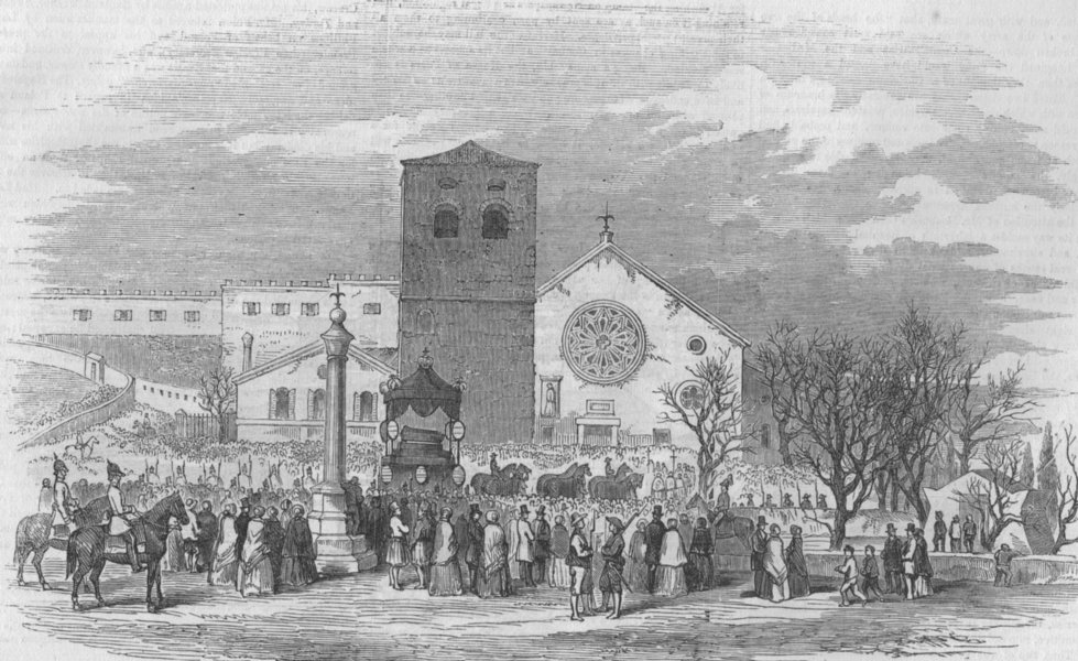 Associate Product TRIESTE. Funeral procession Don Carlos cath. St Just. Spain, antique print, 1855