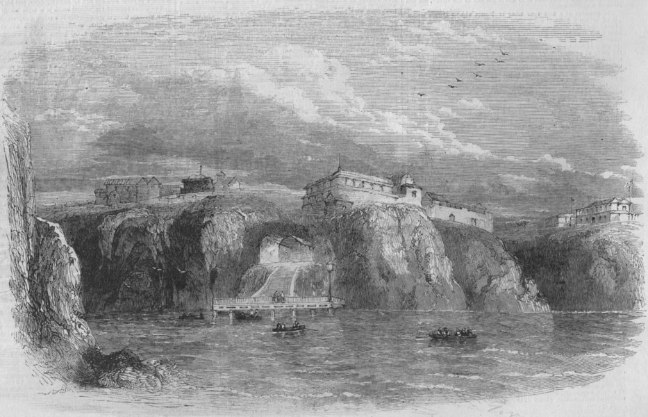 Associate Product PERU. The port of Islay, antique print, 1855