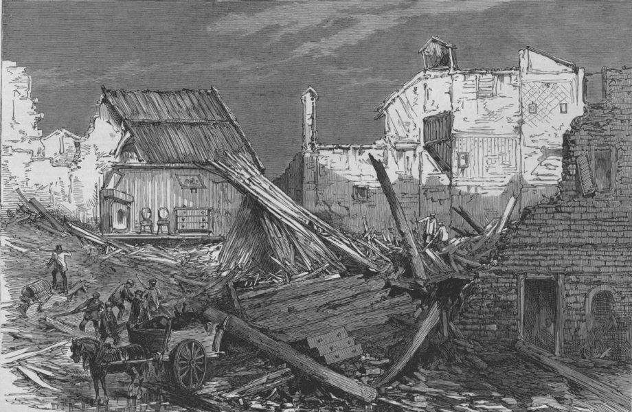 Associate Product TOULOUSE. Ruined Houses in the Rue St Nicolas. France, antique print, 1875