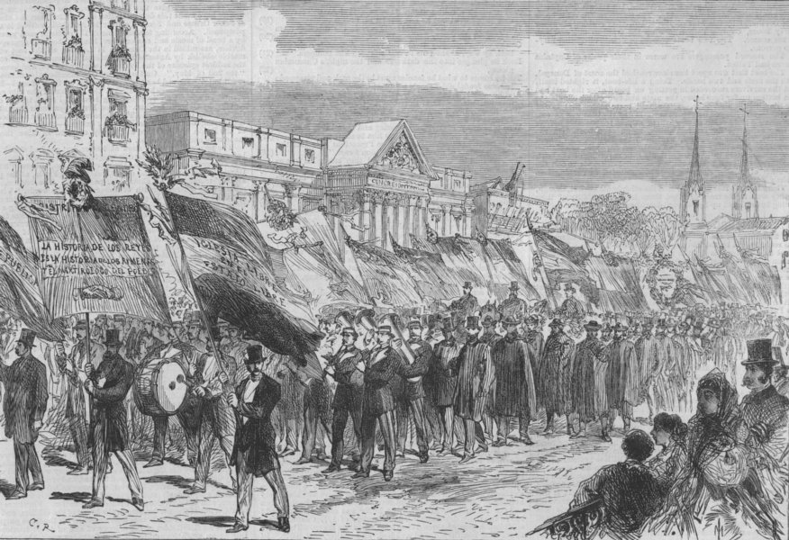 Associate Product MADRID.Republican demo. Procession at Hall of Congress, Rue de St Geronimo, 1868